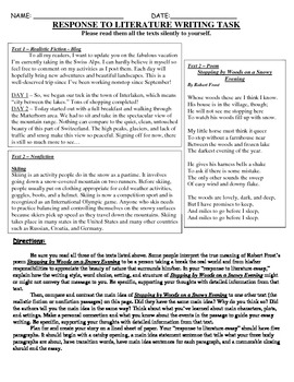 Common Core Text-Dependent Writing Prompt Response to Literature Grade 5