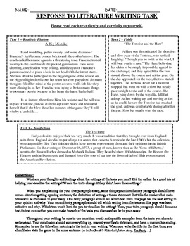 Common Core Text-Dependent Writing Response to Literature Prompt Grade 4