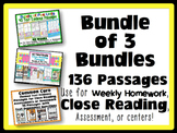 Common Core Text Evidence Bundle of 3 for Close Reading, Homework & Assessments