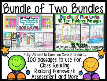 Common Core Text Evidence Bundle of 2 for Close Reading, Homework & Assessments