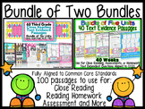 Close Reading 100 Passages Bundle: TDQs Graphic Organizer Homework & Assessments