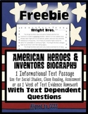 FREEBIE Wright Brothers Close Reading Leveled Passages for HW Assessment & More}