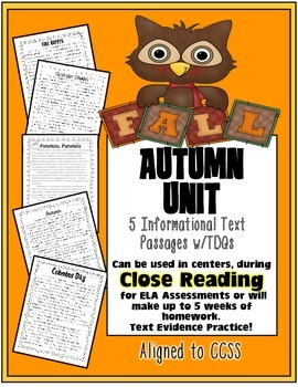 Fall Text Evidence Passages {Close Reading, Homework, Asse
