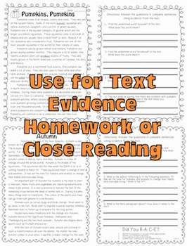 Common Core Text Evidence Passages {Close Reading, Homework, Assessment & More}