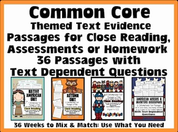 Common Core Text Evidence Passages {Close Reading, Homewor