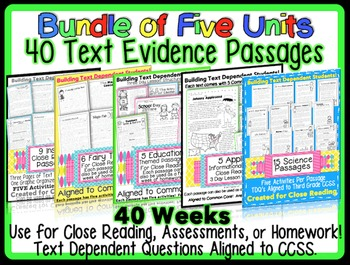 Common Core Text Evidence Passages for Assessments, Homework & Close Reading