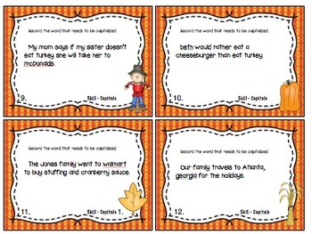 Capitalization Task Cards  2.L.2.a (Thanksgiving)