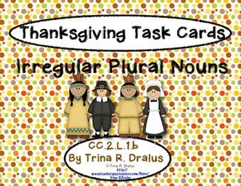 Irregular Plural Nouns Task Cards for Thanksgiving