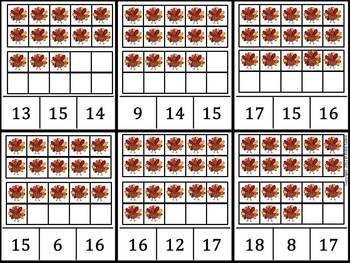 Common Core: Thanksgiving Turkeys {Ten Frames 0-20 Clip It Game}