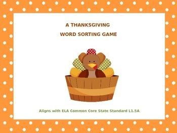 Thanksgiving Word Sort