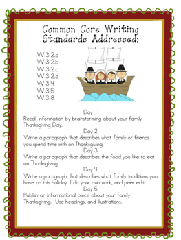Common Core Thanksgiving Writing Assignment