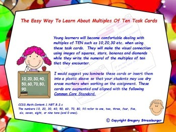 Common Core- The Easy Way To Learn About Multiples of Ten Task Cards