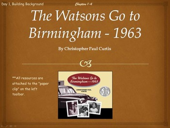 (Common Core) The Watsons Go to Birmingham-1963 Novel Unit Chapters 1-13 Bundled