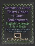 Common Core Third Grade I Can Statements-ELA & Math-Chalkboard Themed