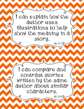 Common Core Third Grade I Can Statements-ELA & Math-Chevron Themed