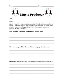Common Core Third Grade Literature Response Sheets