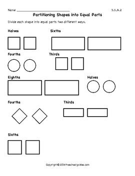Common Core Third Grade Partitioning Shapes 3.G.A.2