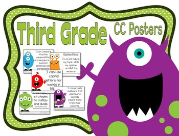 Common Core Third Grade Posters (I can...) Monsters Edition