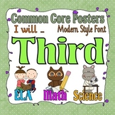 Common Core Third Grade Posters with I will statements, Modern style font