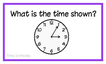 Common Core: Tic-Tac-Toe Time to 5 Minutes