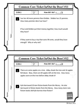 Math Common Core Ticket In/Out the Door! 2nd Grade!