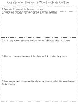 Common Core Tools Constructed Response Word Problem Outline