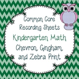 Common Core Tracking Sheets Kindergarten Math Chevron, Gingham, & Zebra