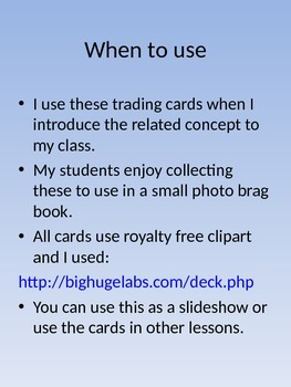 Common Core Trading Cards-Math 2nd Grade