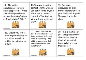 November Writing Prompt Task Cards Grades 3-5