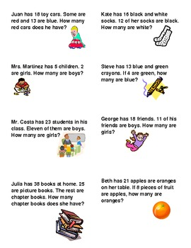 Common Core Type Addition & Subtraction Word Problems