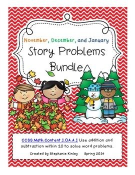 CC -  Math Word Problems - November, December, January Bundle