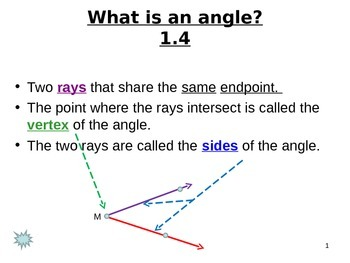 Common Core Unit 1.1 Geometry measuring Angles