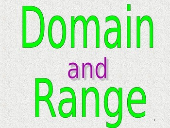 Common Core Aalgebra 1 Unit 1.2 Domain and Range