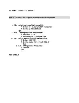 Common Core Algebra 1 Unit 2.2 inequalities Outline
