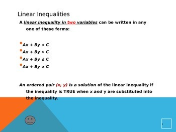 Common Core Algebra 1 Unit 2.2 inequalities two variables