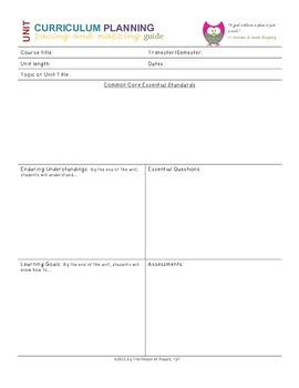 Common Core Unit Curriculum Mapping and Planning Guide