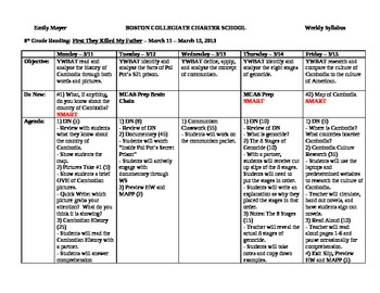 Common Core Unit Plan - First They Killed My Father: Complete Daily Lesson Chart