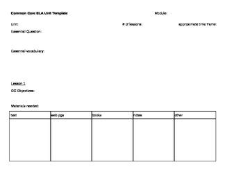 Common Core Unit Template for Modules: includes template for 3 lessons