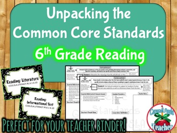 Reading Literature & Informational Text: 6th Grade Common Core Unpacked