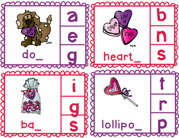 Common Core Valentine's Day Ending Sound Clip Cards