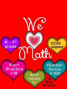 Common Core Valentine's Day Kindergarten through 2nd Grade Math Activities