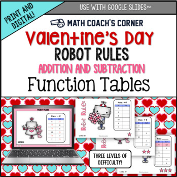 Common Core: Valentine's Day Robot Rules! Addition & Subtraction Function Tables