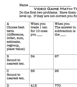 Common Core Video Game Math Topic 3 Place Value