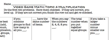 Common Core Video Game Math Topic 4 Meanings of Multiplication