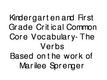 Common Core Vocab KDG and First Grade