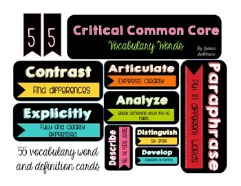 Common Core Vocabulary Definition Cards
