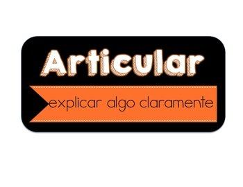 Common Core Vocabulary Definition Cards - En Español