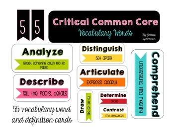 Common Core Vocabulary Definition Cards - WHITE