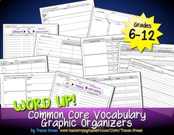 Word Up Vocabulary Graphic Organizers Common Core Language {Grades 6-12}