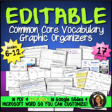 Editable Vocabulary Graphic Organizers Common Core Language {Grades 6-12}